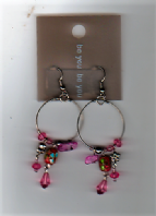 Be you pink beaded circle drop earrings (Code 2652)
